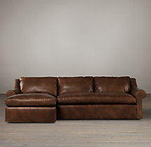Belgian Roll Arm Leather Left-Arm Sofa Chaise Sectional
