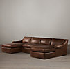 Belgian Roll Arm Leather U-Chaise Sectional
