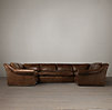 Belgian Roll Arm Leather U-Sofa Sectional