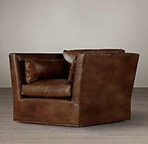 Belgian Shelter Arm Leather Swivel Chair