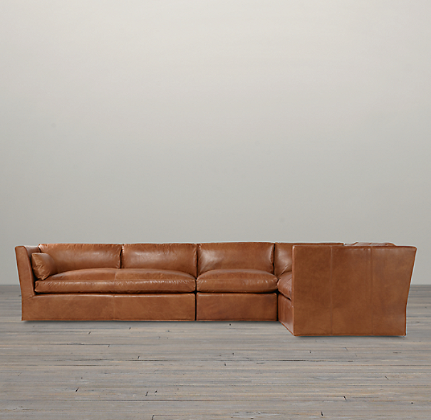 Belgian Shelter Arm Leather Right-Arm L-Sectional