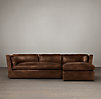 Belgian Shelter Arm Leather Sofa Chaise Sectionals