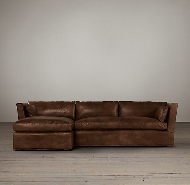Belgian Shelter Arm Leather Left-Arm Sofa Chaise Sectional