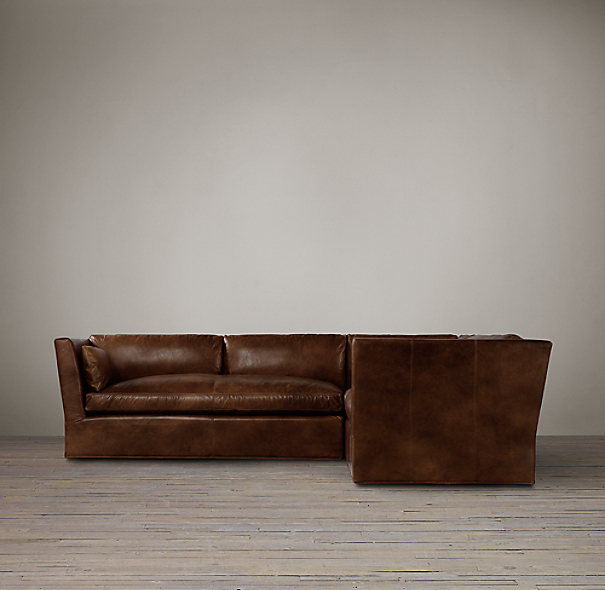 Belgian Shelter Arm Leather Corner Sectional