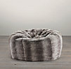 Grand Luxe Faux Fur Bean Bag - Chinchilla