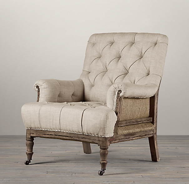 Restoration Hardware Chairs: Deconstructed Tufted Roll Armchair