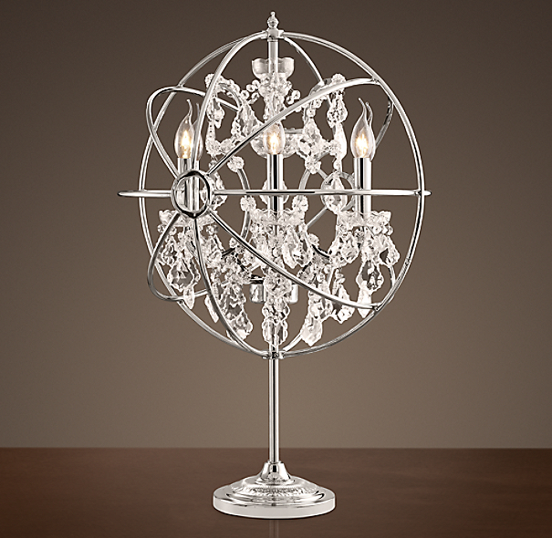 Foucault's Orb Crystal Table Lamp Polished Nickel