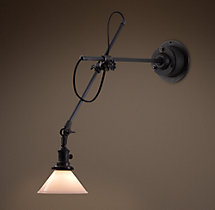 1900s Machinist Sconce Aged Steel with Milk Glass Shade