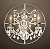 Foucault's Iron Orb Crystal Sconce Polished Nickel