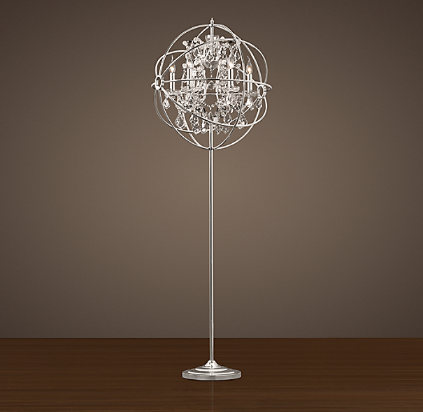 Foucault's Iron Orb Crystal Floor Lamp Polished Nickel