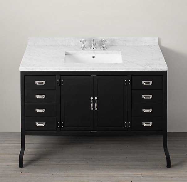 Pharmacy Extra-Wide Single Vanity Sink Black