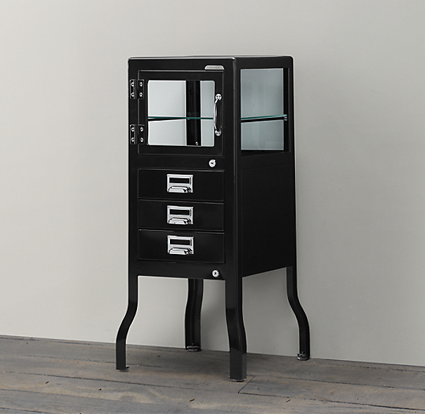 Pharmacy Short Bath Cabinet With Drawers Black
