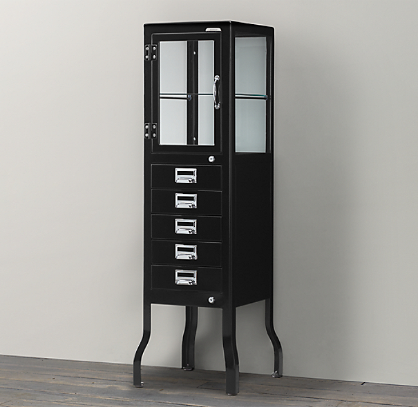 Pharmacy Cabinet Large with Drawers- Black