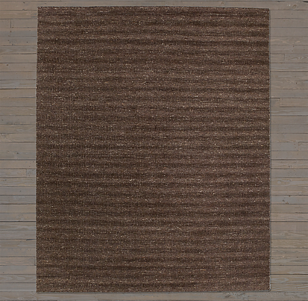 Textured Striped Wool Rug Swatch - Chocolate