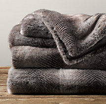Luxe Faux Fur Blanket - Chinchilla