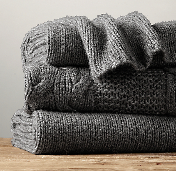 Italian Wool & Alpaca Knit Throw - Charcoal