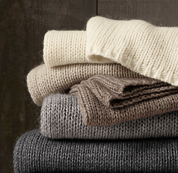 Italian Wool & Alpaca Ribbed Knit Throws