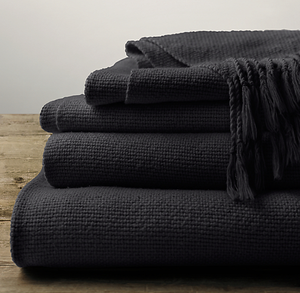 Garment-Dyed Basket Weave Throw