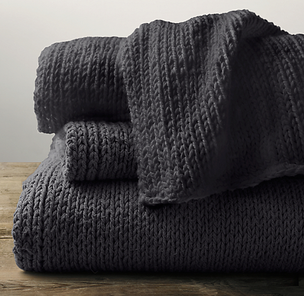 Garment-Dyed Hand-Knit Throw