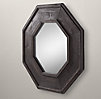 Salvaged Octagonal Mirror - Black