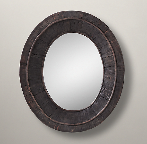 Pieced Oval Mirror - Black