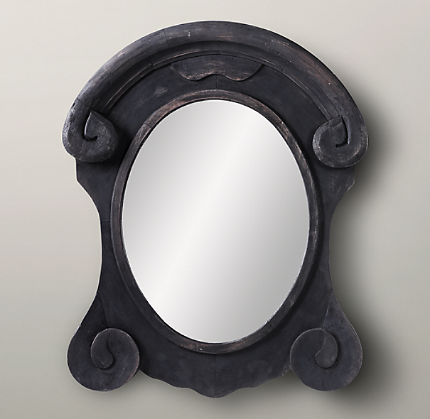 Mansard Scroll Mirror - Black