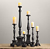 Florentine Carved Wood Candlesticks Black