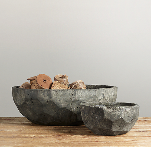 Sculptural Stone Vessel Faceted Bowl Collection