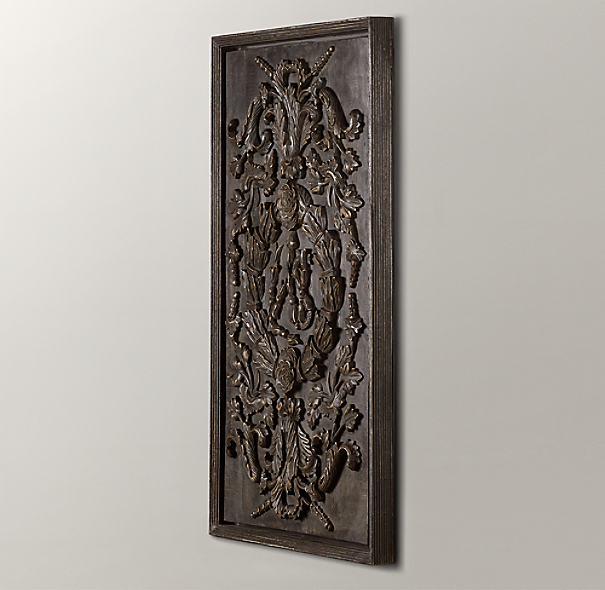 Hand-Carved Rococo Wood Panel Black