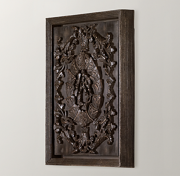 Hand-Carved Rococo Wood Panel Black Small