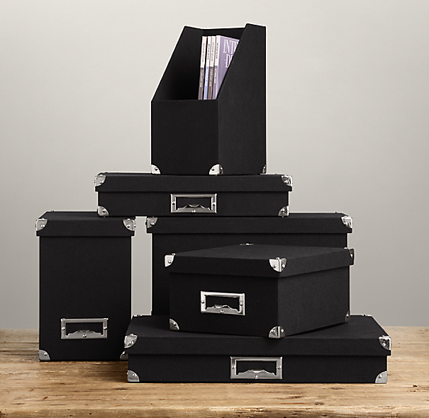 Linen Office Storage Accessories Black