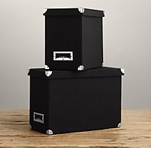 Linen Desktop File Box Black