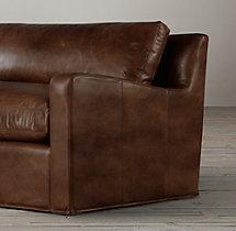 5' Belgian Slope Arm Leather Sofa