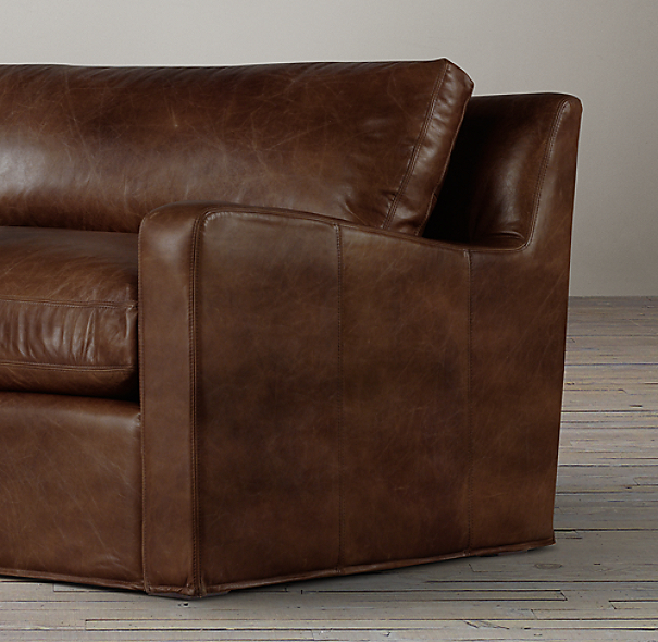 5' Belgian Slope Arm Leather Sofa