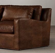 6' Belgian Slope Arm Leather Sofa