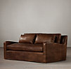 6' Belgian Slope Arm Leather Sofa