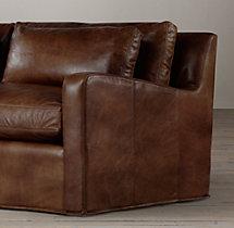 7' Belgian Slope Arm Leather Sofa