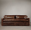 7' Belgian Slope Arm Leather Sofa