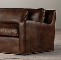 8' Belgian Slope Arm Leather Sofa