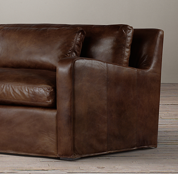 8' Belgian Slope Arm Leather Sleeper Sofa