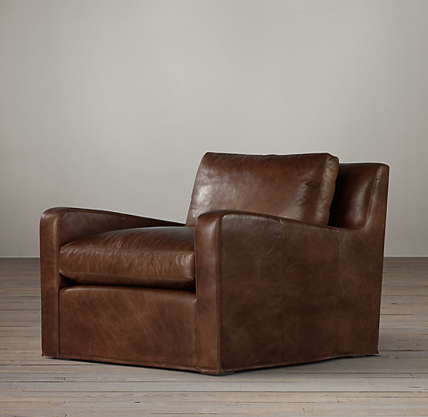 Belgian Slope Arm Leather Swivel Chair