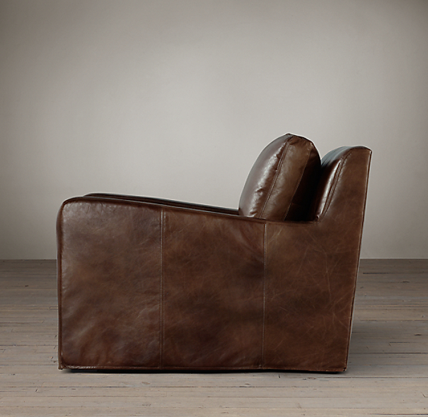 Belgian Slope Arm Leather Chair