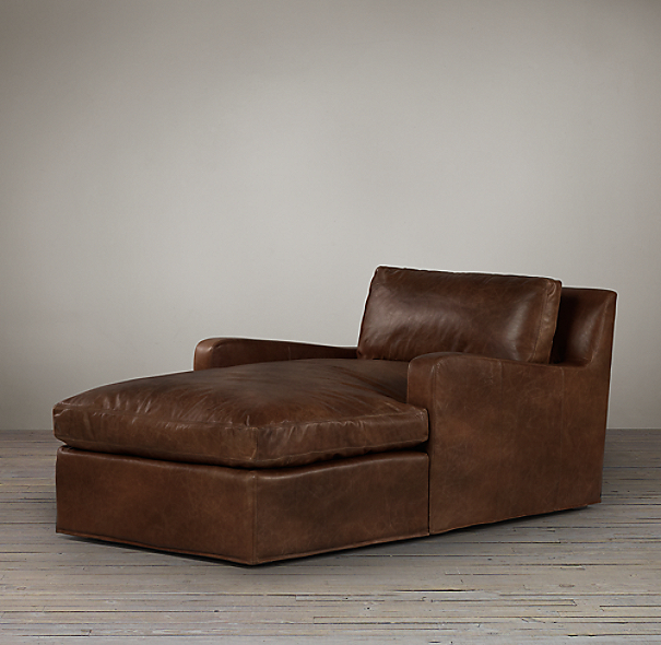 Belgian Slope Arm Leather Chaise