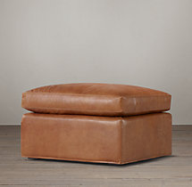 Belgian Roll Arm Leather Ottoman