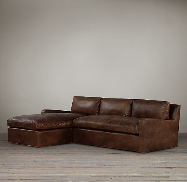 Belgian Slope Arm Leather Left-Arm Sofa Chaise
