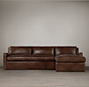 Belgian Slope Arm Leather Right Arm Sofa Chaise