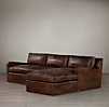 Belgian Slope Arm Leather Sofa Chaise Sectionals