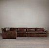 Belgian Slope Arm Leather L-Sectional