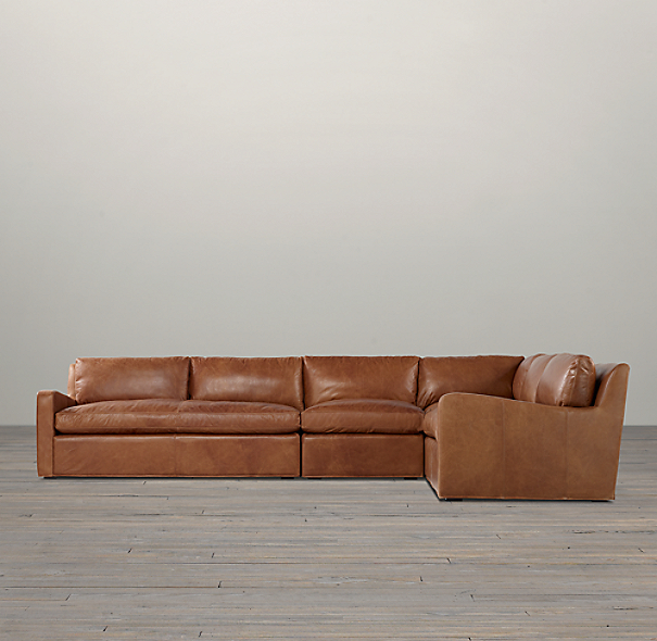Belgian Slope Arm Leather Right-Arm L-Sectional