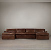 Belgian Slope Arm Leather U-Chaise Sectional